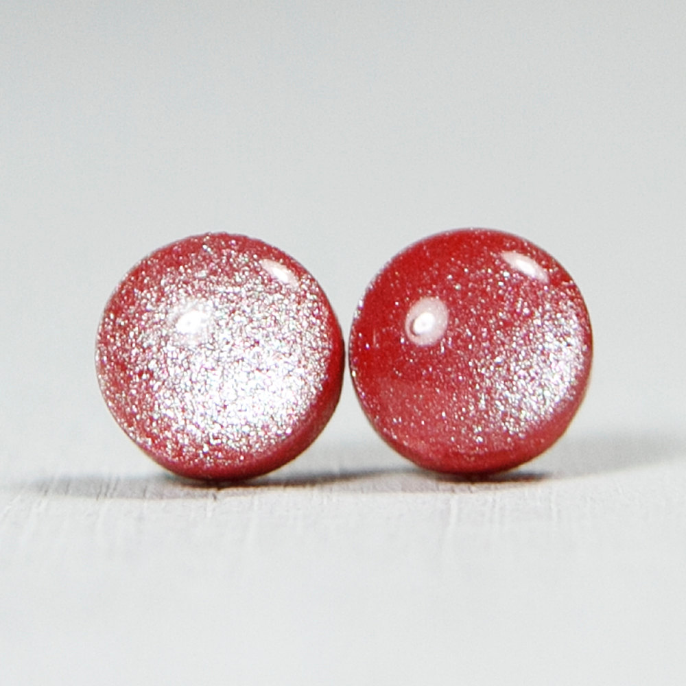 red hugerect product studs ruby jewelery shimmer earrings post posts clay polymer stud